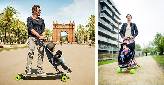 Longboard Kinderwagen Vater mit Sohn und Mutter mit Tochter