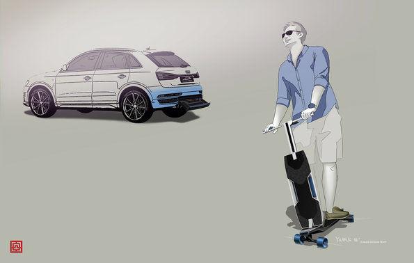 Elektro Longboard Skizze Audi