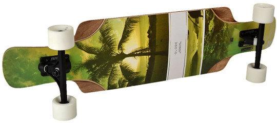 Globe Geminon Longboard Design mit Strandmotiv und Palmen