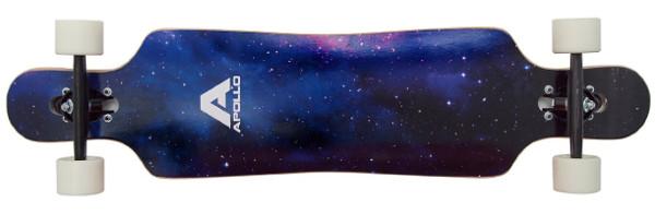 Apollo Nebula Longboard mit Universum-Cover und weissen Rollen